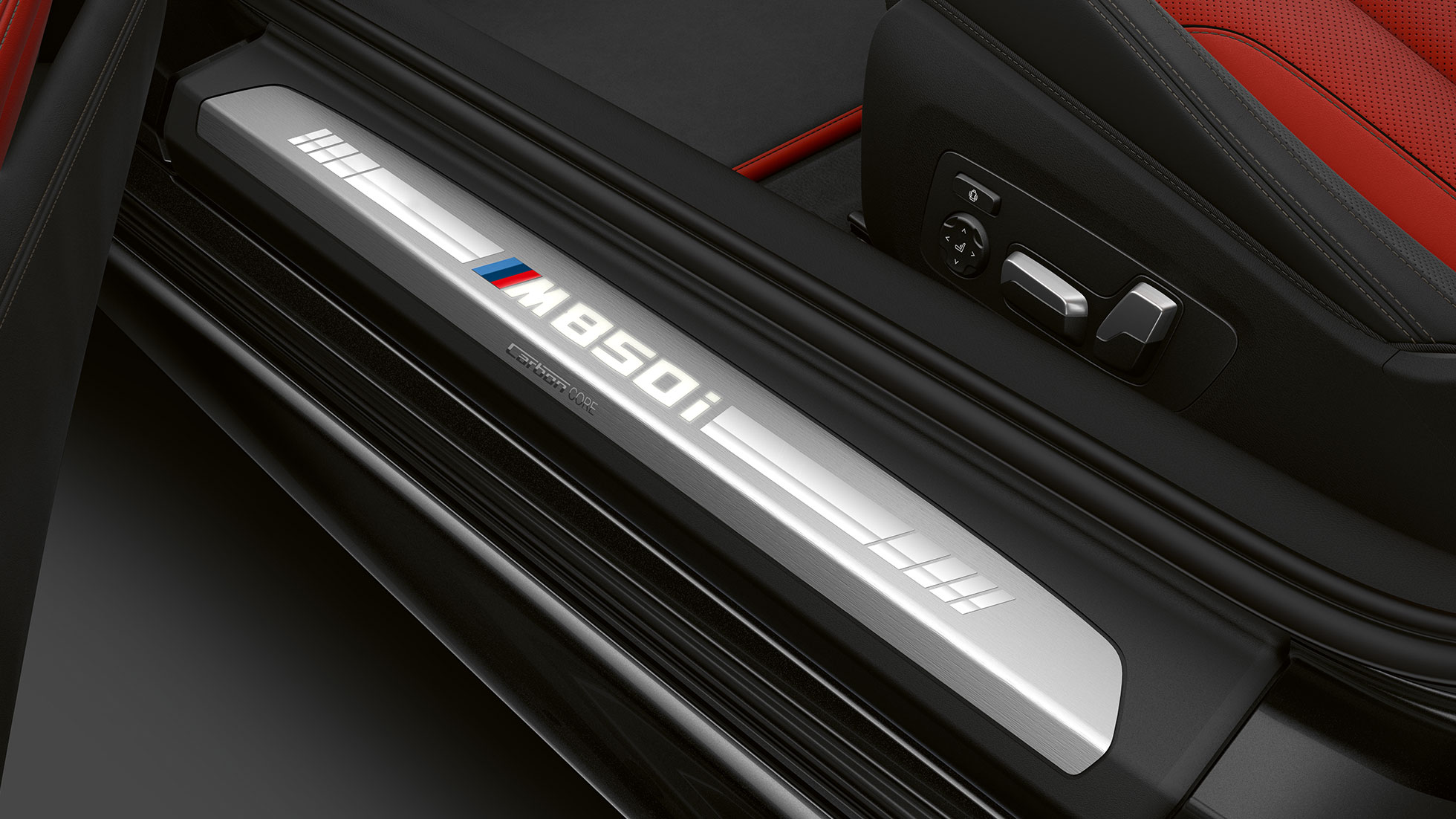 BMW M850i xDrive, Carbon Black metallic, лайстна на прага.