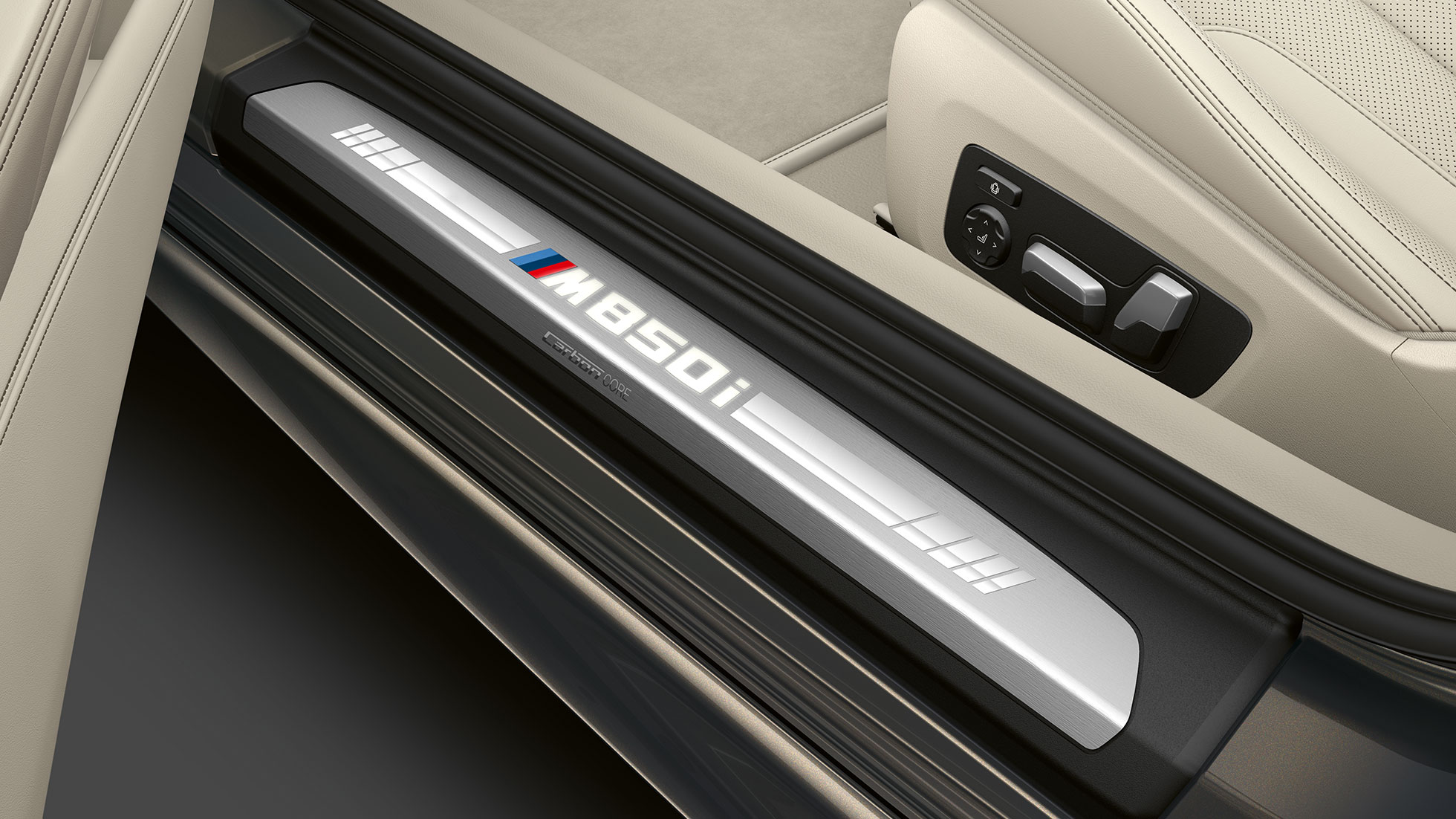 BMW M850i xDrive, Dravit Grey metallic, лайстна на прага
