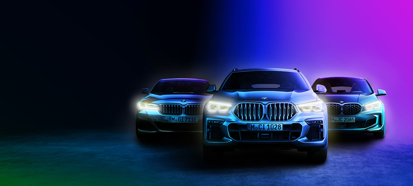 BMW RANGE ON DARK BACKGROUND